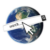 Search The Internet. Realistic Earth Image and search bar and mouse cursor. Earth Imagery by NASA Stock Image