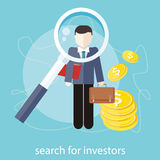Search for investors. Investment analysis concept with magnifying glass and businessman with briefcase and dollar bills. Search for investors concept in flat Royalty Free Stock Photo