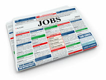 Search job. Newspaper with advertisments. 3d Stock Photos