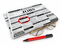 Search job. Newspaper with advertisments, glasses and marker. 3d Stock Image