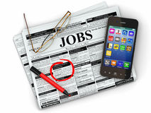 Search job. Newspaper with advertisments, glasses and mobile. Stock Photography