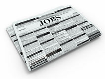 Search job. Newspaper with advertisments. Royalty Free Stock Images