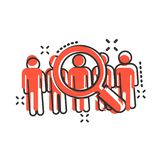 Search job vacancy icon in comic style. Loupe career vector cartoon illustration on white isolated background. Find employer. Business concept splash effect vector illustration