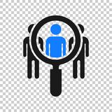Search job vacancy icon in transparent style. Loupe career vector illustration on isolated background. Find employer business. Concept stock illustration