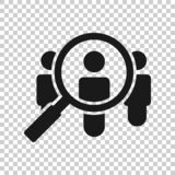 Search job vacancy icon in transparent style. Loupe career vector illustration on isolated background. Find people employer. Business concept royalty free illustration