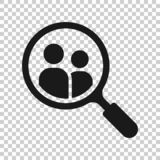 Search job vacancy icon in transparent style. Loupe career vector illustration on isolated background. Find people employer. Business concept vector illustration