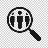 Search job vacancy icon in transparent style. Loupe career vector illustration on isolated background. Find people employer. Business concept stock illustration