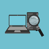 Search laptop data server. Vector illustration eps 10 Royalty Free Stock Photography
