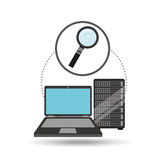 Search laptop data server. Vector illustration eps 10 Royalty Free Stock Image