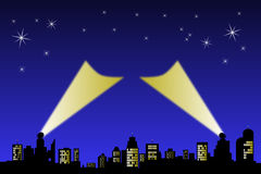 Search Light City star sky. Search lights point up to a night sky from a silhouette horizon. Central area ready for text or logo Stock Photos