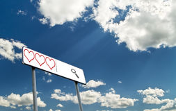 Search line with hearts against blue sky Royalty Free Stock Photos
