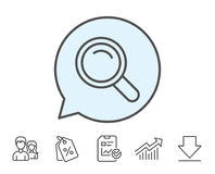 Search line icon. Magnifying glass sign. Enlarge tool symbol. Report, Sale Coupons and Chart line signs. Download, Group icons. Editable stroke. Vector Stock Photos