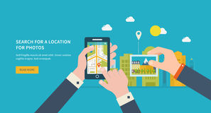 Search for a location on photos. Vector illustration concept of  holding smart-phone with mobile navigation. Urban landscape and city life. Building icon. Search Royalty Free Stock Images