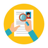 Search with loupe in woman file info with curriculum vitae sheet Royalty Free Stock Photos