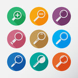 Search With Lupe.Flat style round icon Royalty Free Stock Image
