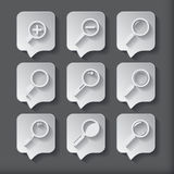 Search With Lupe.Flat style square icon Stock Photography