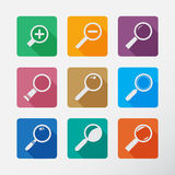 Search With Lupe.Flat style square icon Royalty Free Stock Image
