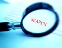 Search with magnifier glass Stock Photo
