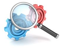 Search magnifier glass with colorful connected work gears. 3d Stock Photos
