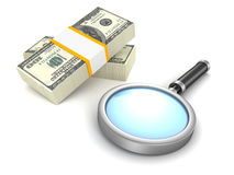 Search magnifying glass and 100 dollar packs money Stock Images