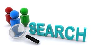 Search and magnifying glass Stock Photos