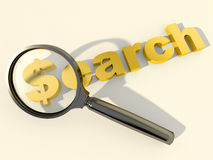 Search and magnifying glass. Black loupe over the word Search with dollar symbol instead of first letter Royalty Free Stock Image