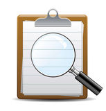 Search magnifying glass. Note Stock Photos