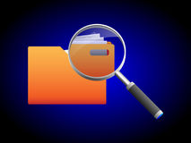 Search and magnifying glass icon, illustration. Search folder and magnifying glass icon, illustration vector illustration