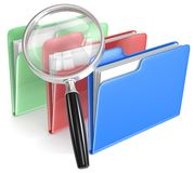 Search. Magnifying Glass over 3 folders. Blue, red, and green Stock Photos