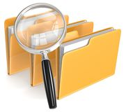 Search. Magnifying Glass over 3 folders. Orange stock illustration