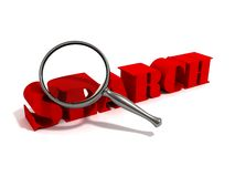 Search with a magnifying glass on a white. Background Royalty Free Stock Photo