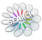 Search - Magnifying Glasses in Circle. Many magnifying glasses arranged in a circle around the word Search Royalty Free Stock Image