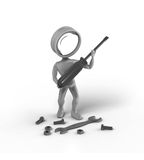 Search-Man with Tools Stock Image