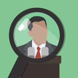 Search. Man under a magnifying glass. Find information. About famous world persona. Vector. Green background Royalty Free Stock Images