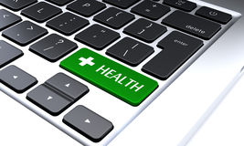 Search for medical help. An element of a keyboard with a green button 'health' instead of Shift. Close up, Concept of finding information about health on the Royalty Free Stock Photo