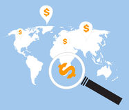Search money around the world stock illustration