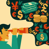 Search of money,  financial symbols. Search of money financial symbols,illustration Stock Photo