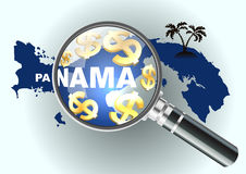 Search money in offshore. Magnifying glass illustration, design over a Panama map.  Royalty Free Stock Photo