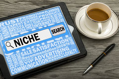 Search for niche. Niche concept in search bar royalty free stock photos