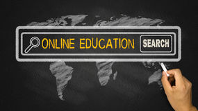 Search for online education. On blackboard Royalty Free Stock Image