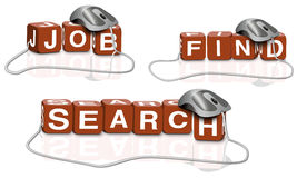 Search online job and find. Red dices writing the words job search find connected with mouse Royalty Free Stock Photos