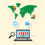 Search online shopping select worldwide delivery Stock Images