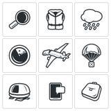 Search operation, plane crash icons set. Vector Illustration. Stock Photo