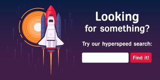 Search-page-space-shuttle copy. The pop up with search input form. Great concept with the rocket take off from the base to the sun. Flat design vector illustration