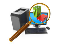 Search for a particular. 3d illustration of computer technology. Search for a particular folder on your computer Stock Photography