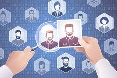 Search For People On The Internet. Metaphoric vector illustration on the subject of `Social Networks Royalty Free Stock Photography