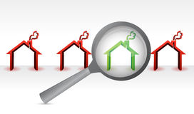 Search for the perfect home. magnify concept Royalty Free Stock Images