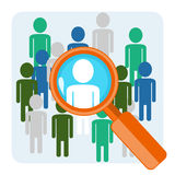 Search of person. Flat design concept of search of people or headhunting Stock Photos