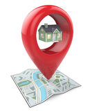 Search for Property. 3D render of a Map with Large Red GPS Pointer containing a Green House Stock Image