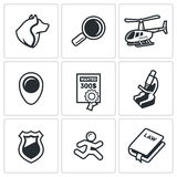 Search, prosecution escaped convict icons set. Vector Illustration. Stock Photos